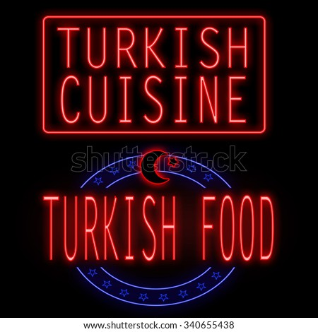 Turkish cuisine and thai food glowing neon signs on black background