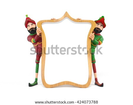 Turkish Culture, karagoz and hacivat with frame-3d rendering - stock photo