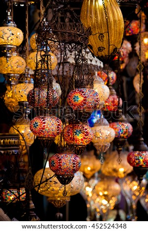 Turkish decorative lamps for sale on Grand Bazaar at Istanbul, Turkey - stock photo
