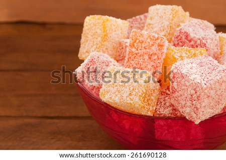 Turkish Delight in coconut flakes  - stock photo