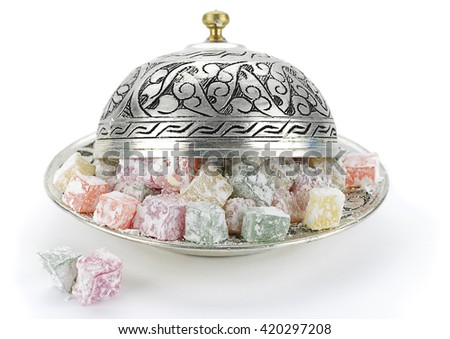 Turkish Delight in Vintage Plate - stock photo
