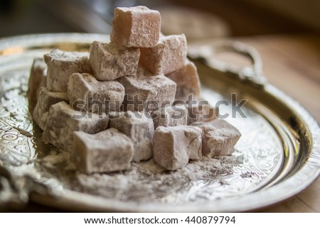 Turkish delight lokum in a silver tray