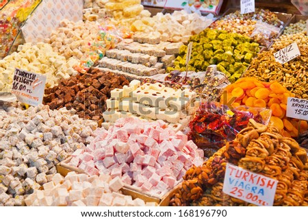 Turkish delight sweets at the Spice Market in Istanbul Turkey - stock photo