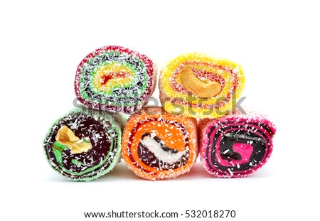 turkish delight with nuts over white background
