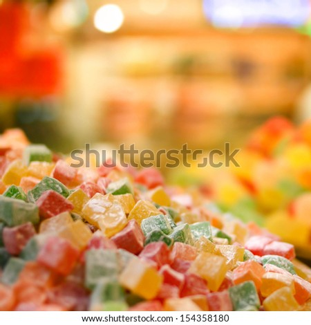Turkish delights -  Traditional Middle Eastern dessert, selective focus - stock photo
