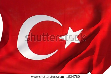 Turkish flag in the wind.