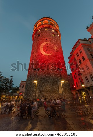 Turkish Flag light show on the Galata Tower. Istanbul Turkey. & Turkish Flag Light Show On Galata Stock Photo (Royalty Free ...