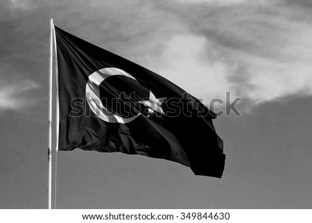 Turkish flag on a flagpole in black and white style