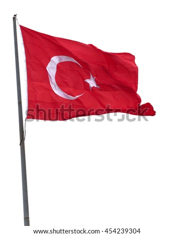 Turkish flag on flagpole waving in wind. Isolated on white background. - stock photo