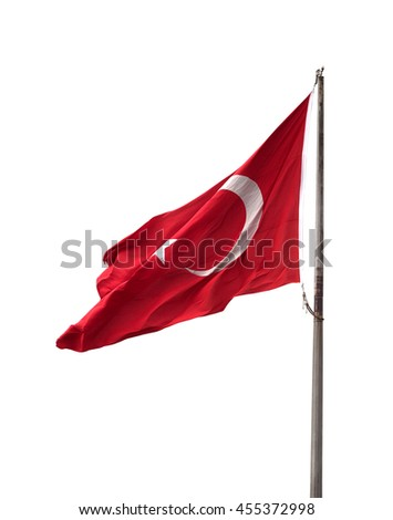 Turkish flag on flagpole waving in windy day. Isolated on white background. - stock photo
