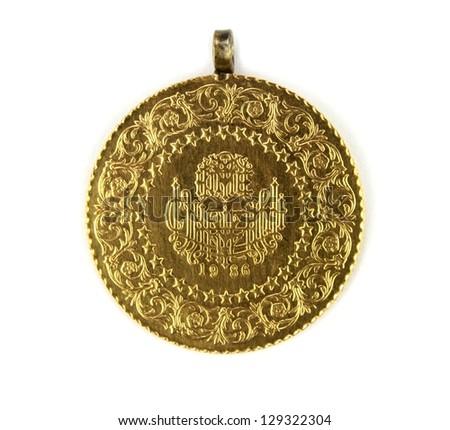 Turkish gold coin - stock photo