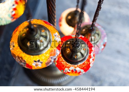 Turkish hanging lanterns, Grand Bazaar, Istanbul - stock photo