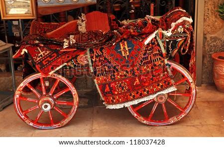 Turkish homemade carpet store on arabic bazaar - stock photo