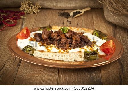 Turkish Kebab eggplant and meat alinazik - stock photo