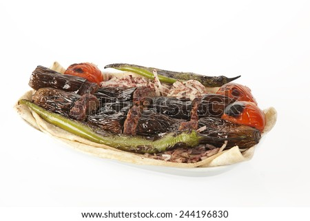Turkish Kebab eggplant and meatballs - stock photo