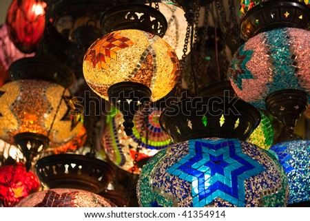 Turkish lamps in Grand Bazaar - stock photo