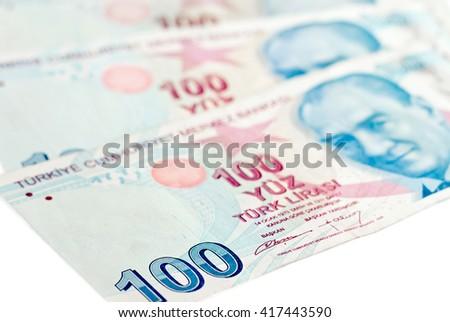 Turkish lira banknotes. isolated on white background - stock photo