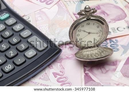 Turkish lira, Calculator, Clock - stock photo