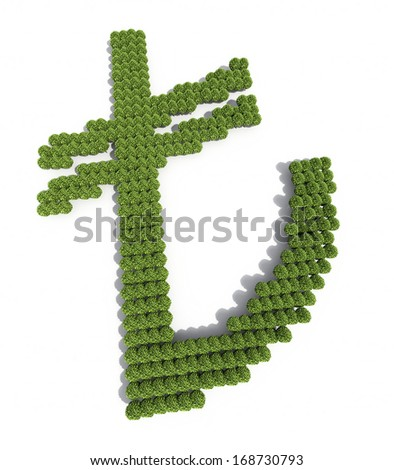 Turkish lira Sign tree scatered (isolated on white and clipping path)