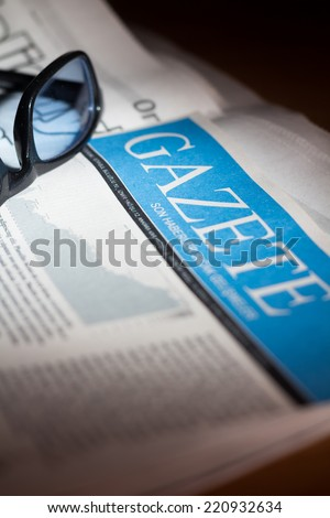 Turkish newspaper with very shallow depth of field - Specially designed for stock photography - stock photo