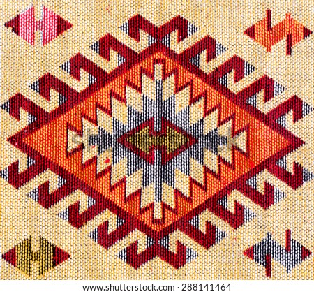 Turkish old carpet pattern background Oriental Floral - stock photo