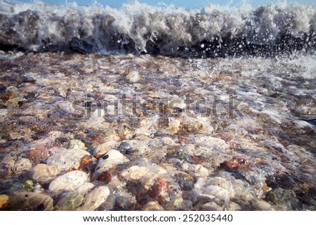 Turkish Olimpos well-known beach at sea - stock photo