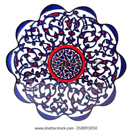 Turkish Ottoman tile plate - isolated - stock photo