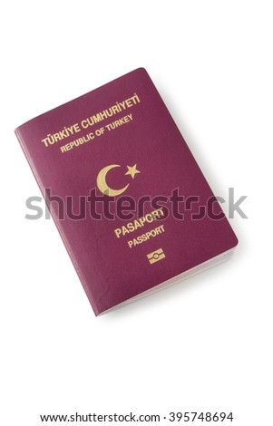 Turkish passport of side view, isolated on white background - stock photo