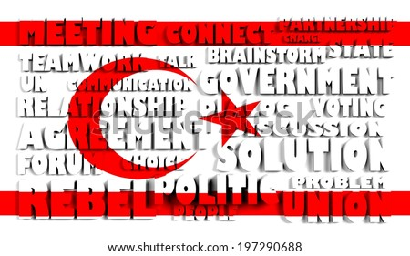 Turkish Republic of Northern Cyprus national flag textured surface with relief text in conformity with political situation