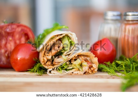 turkish shawarma kebab chicken wrap - stock photo