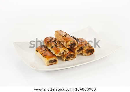Turkish style meat stuffed filo dough rolls served with clipping path - stock photo