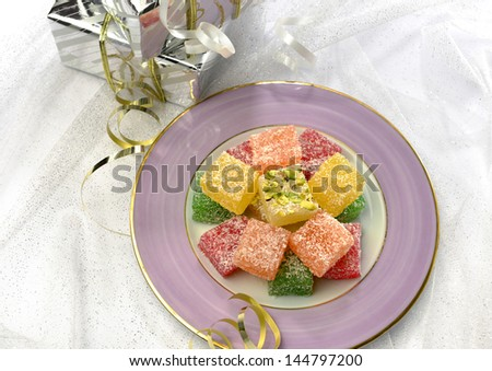 Turkish sweet and gift pack - stock photo