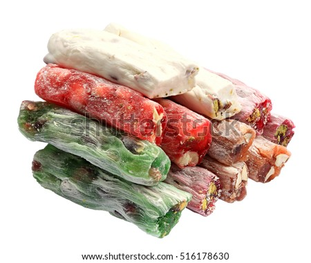 Turkish sweets, candies on white background, isolated