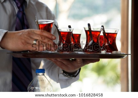 Turkish tea, served in a restaurant