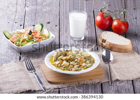 Turkish traditional artichoke food meal is serving on table ready to eat - stock photo