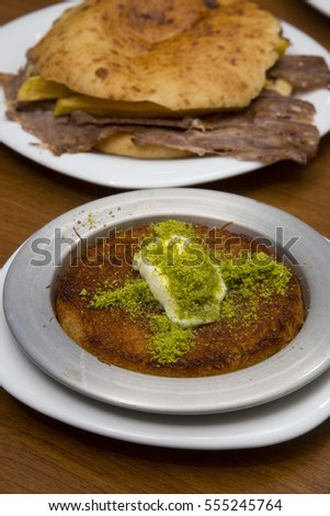 Turkish traditional dessert and doner kebab