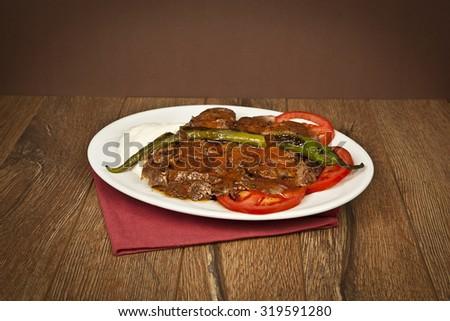 Turkish traditional iskender kebap - stock photo