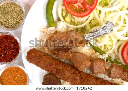 Turkish traditional kebab specials ready to serve