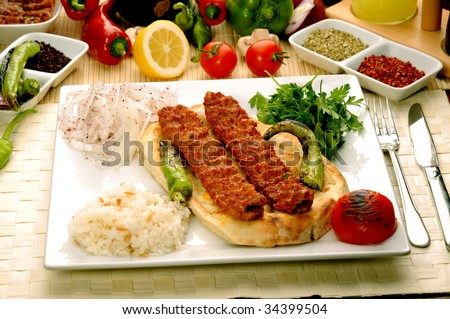 Turkish traditional kebap specials ready to serve - stock photo