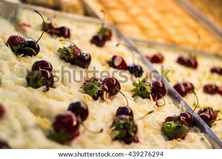Turkish traditional ramadan dessert gullac in a tray - stock photo