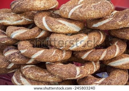 Turkish traditional sesame bagel ( Simit )  - stock photo