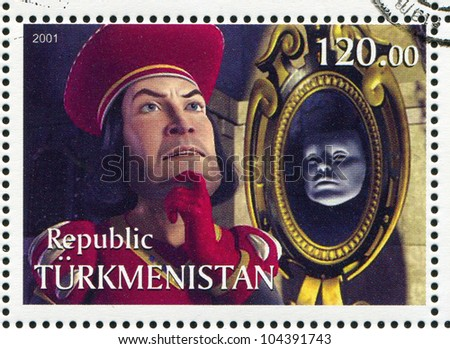 TURKMENISTAN - CIRCA 2001: stamp printed by Turkmenistan, shows Lord Farquaad, Shriek, circa 2001