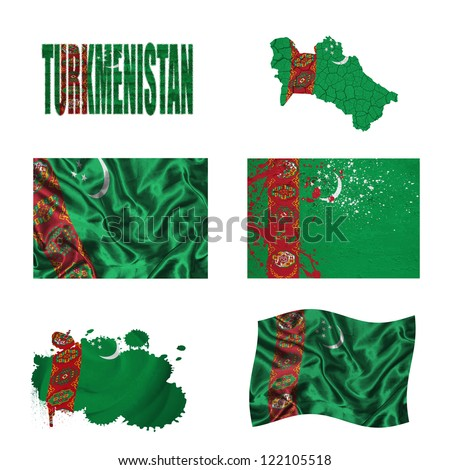 Turkmenistan flag and map in different styles in different textures