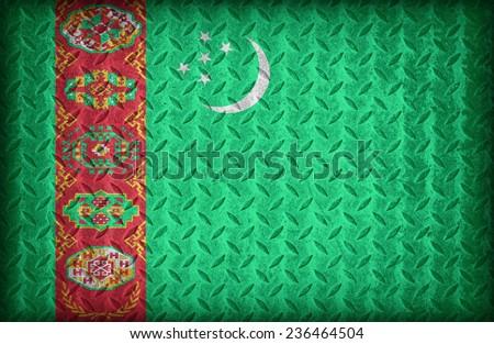 Turkmenistan flag pattern on the diamond metal plate texture ,vintage style - stock photo