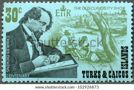 "TURKS AND CAICOS ISLANDS - CIRCA 1970 : A stamp printed in Turks and Caicos Islands shows writer Charles Dickens (1812-1870), English novelist and ""The Old Curiosity Shop"" scene, circa 1970"