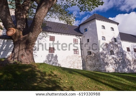 Turku castle in bright sunshine in Finland on a sunny summer day.