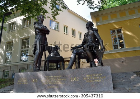 TURKU, FINLAND AUGUST 2, 2013: Swedish Crown Prince Carl Johan and the Russian Tsar Alexander I at the meeting in the Finnish city of Turku. The monument is located in the city center. - stock photo