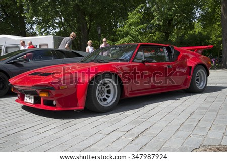 TURKU, FINLAND - JUNE 13, 2015: Red car De Tomaso Pantera GTS. Exhibition-parade of sports cars