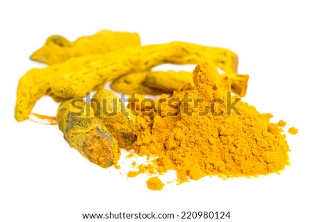 Turmeric - A whole root and powder isolated on white background