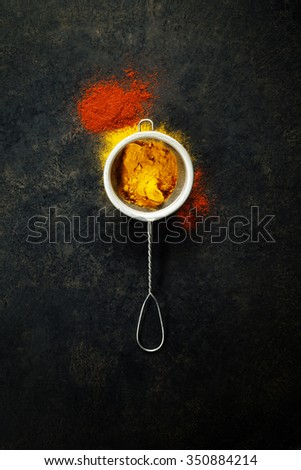 Turmeric and paprika  powders on dark rustic background. Bright spices. Healthy eating and cooking concept. - stock photo